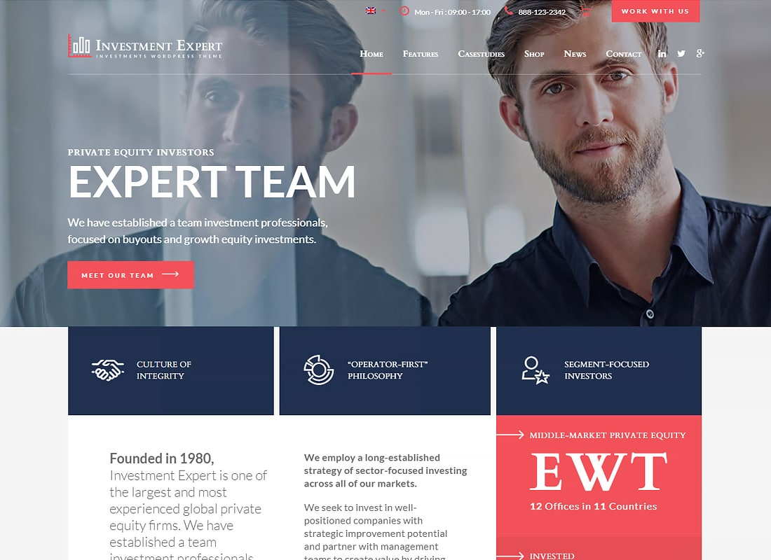 Investment Expert - Business Theme for Investment Experts in Financial Consultancy + RTL   Website Template