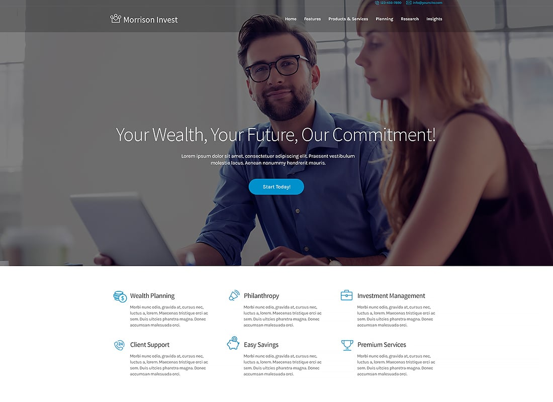 Investments, Business & Financial Advisor WordPress Theme Website Template