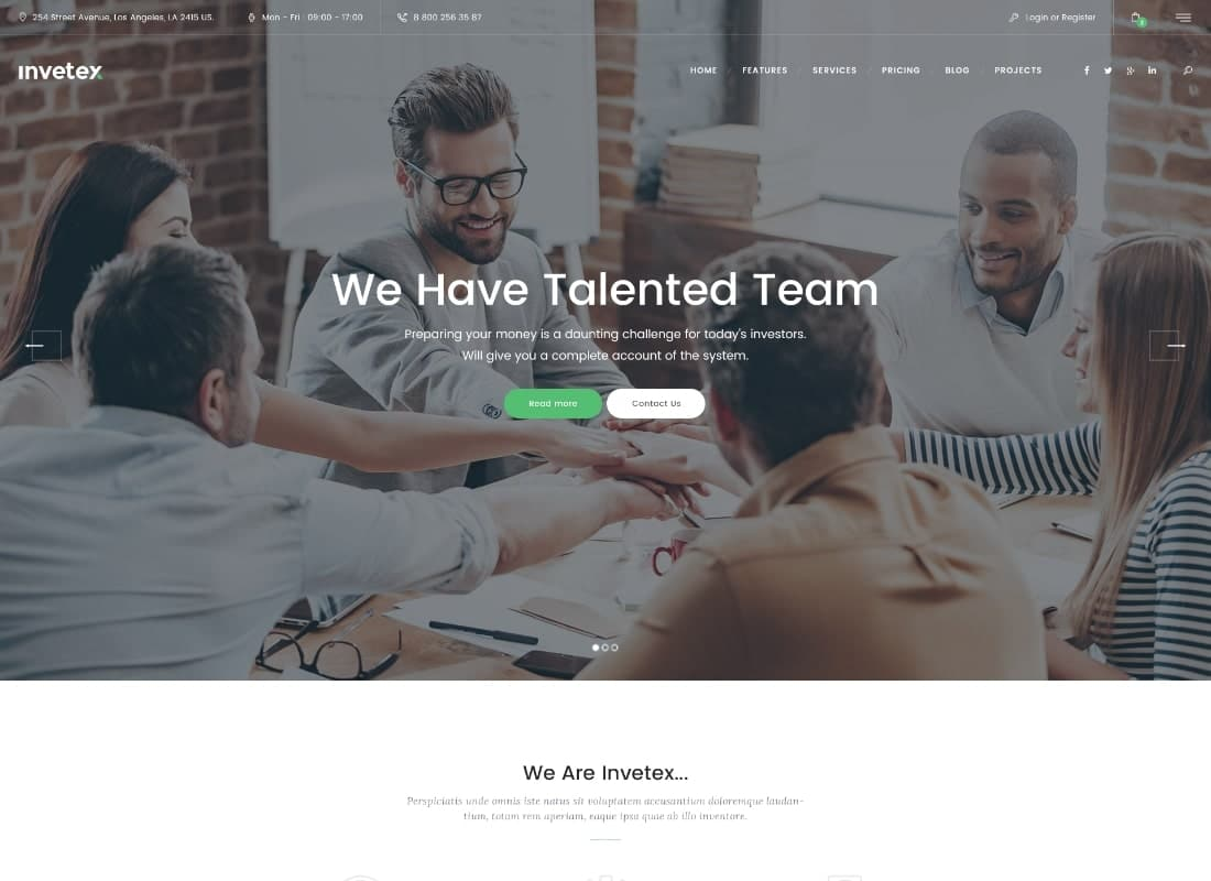 Invetex   Business Consulting & Investments WordPress Theme + RTL Website Template