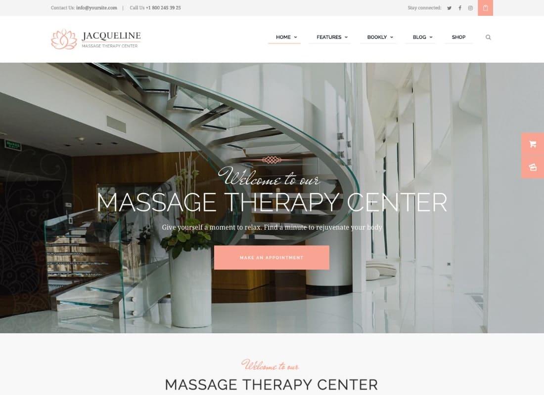 Jacqueline   Spa & Massage Salon Beauty WordPress Theme + Elementor Website Template