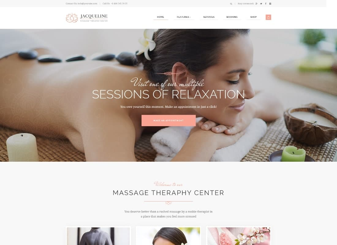 Jacqueline | Spa & Massage Salon WordPress Theme Website Template