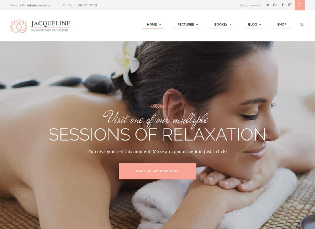 Jacqueline | Spa & Massage Salon WordPress Theme Website Template