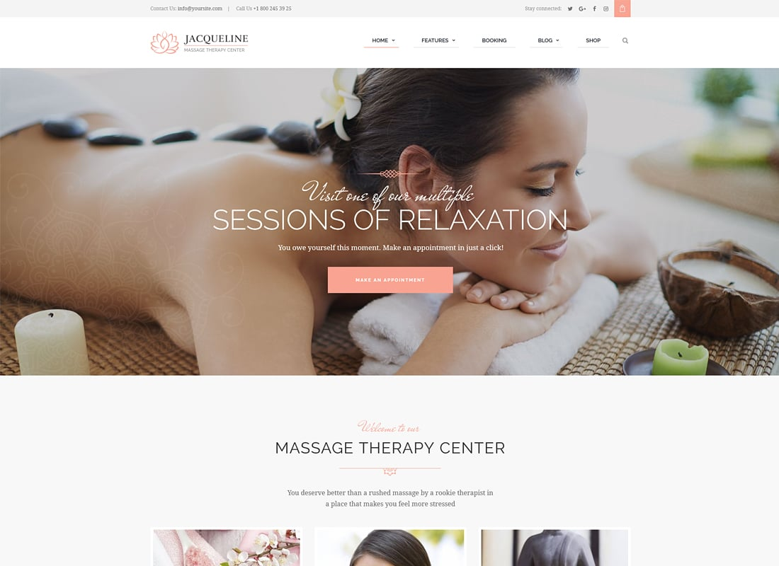 Jacqueline - Spa & Massage Salon WordPress Theme   Website Template