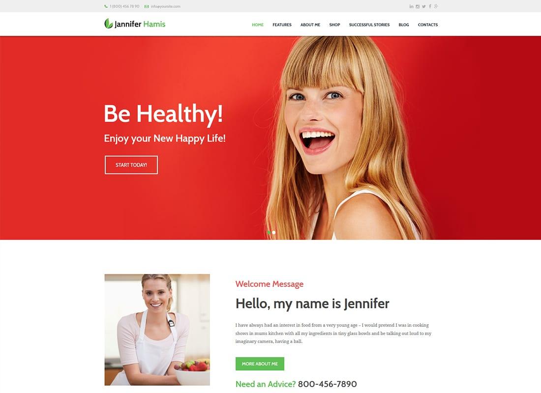 Jannifer Hamis | Health Coach Blog & Lifestyle Magazine WordPress Theme Website Template