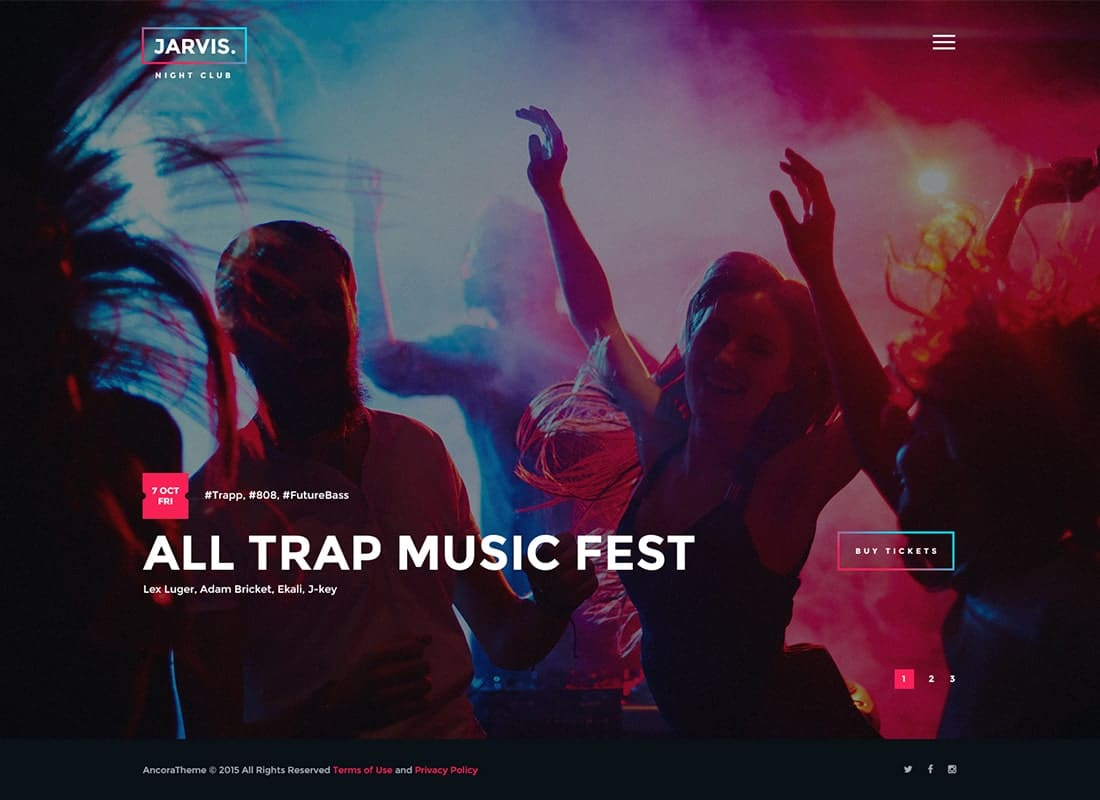 Jarvis - Night Club, Concert, Festival WordPress Theme Website Template