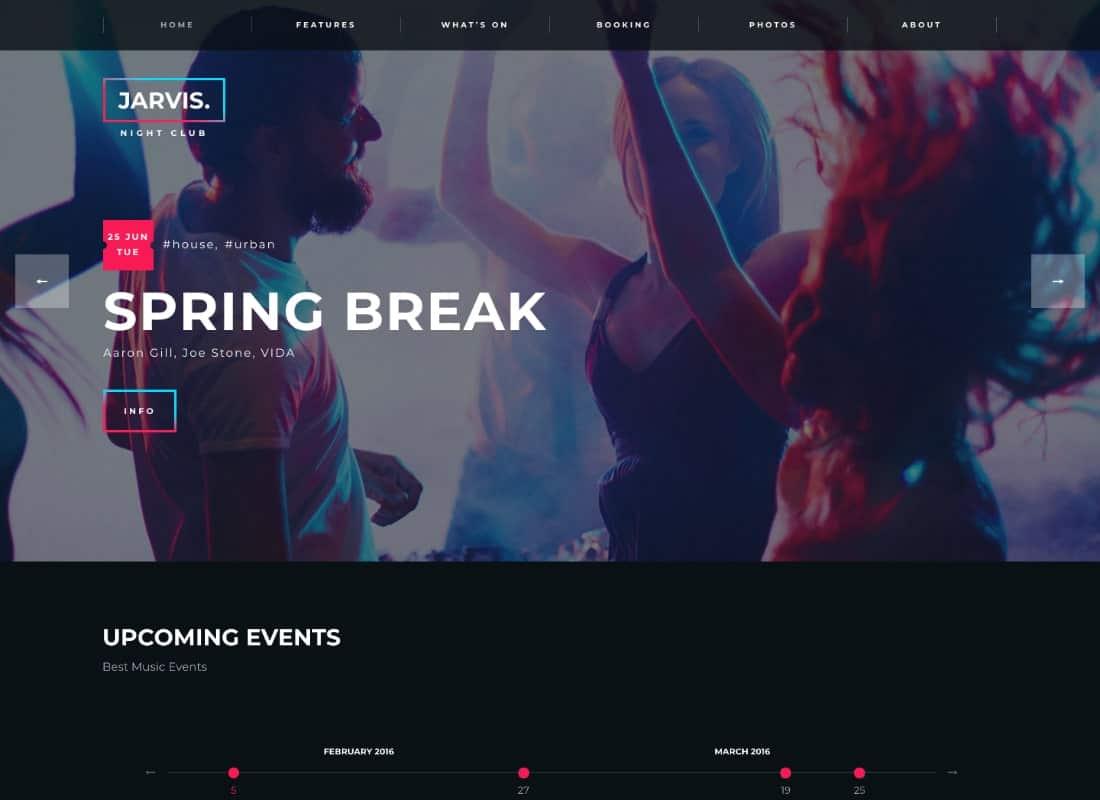 Jarvis - Night Club, Concert, Festival WordPress Theme Website Template