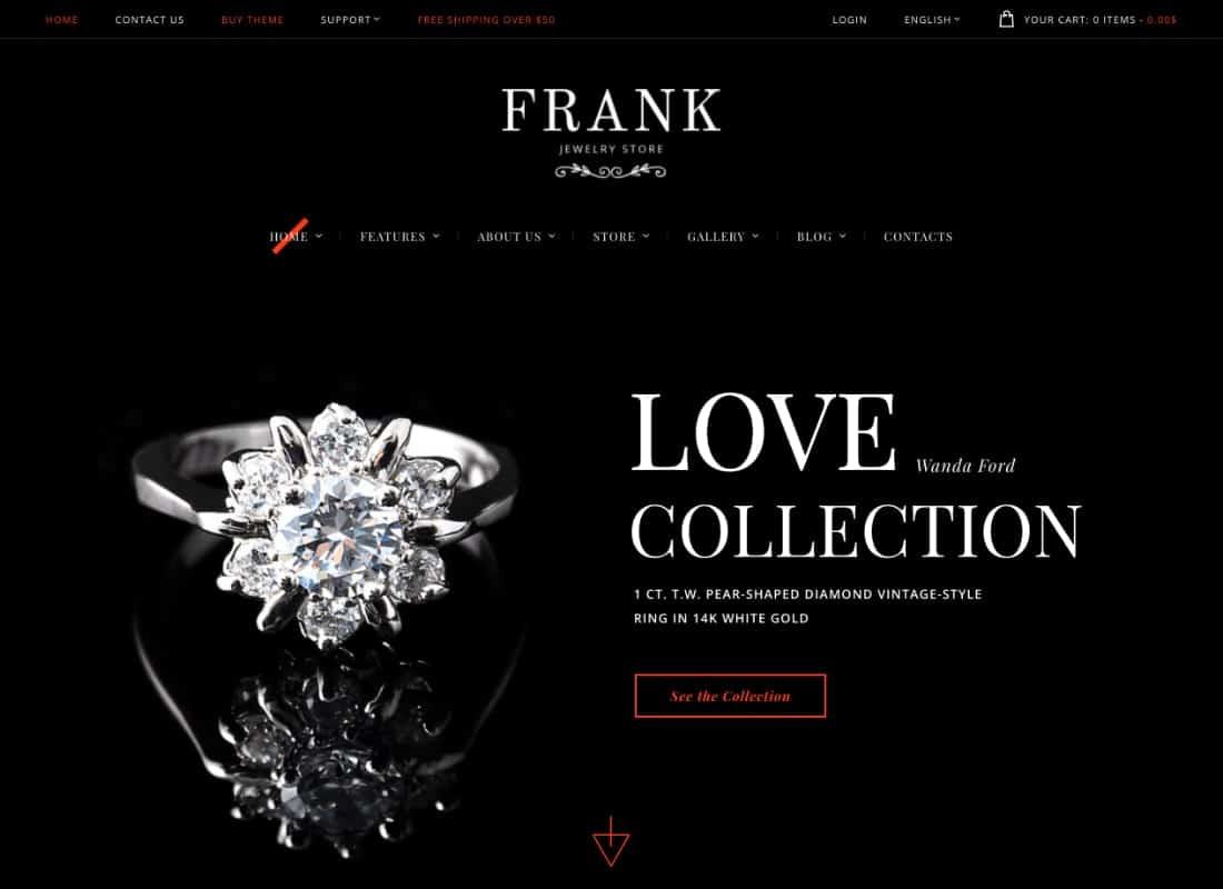 Jewelry & Watches Online Store WordPress Theme Website Template