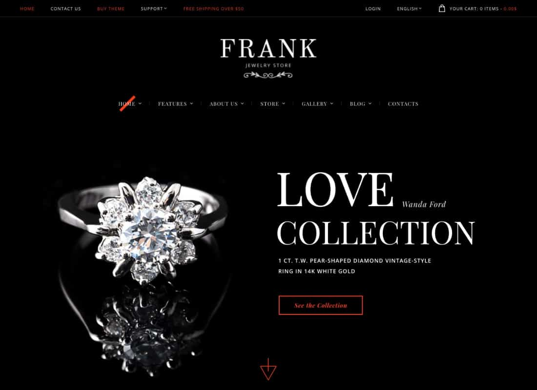 Jewelry & Watches Online Store WordPress Theme Website Template