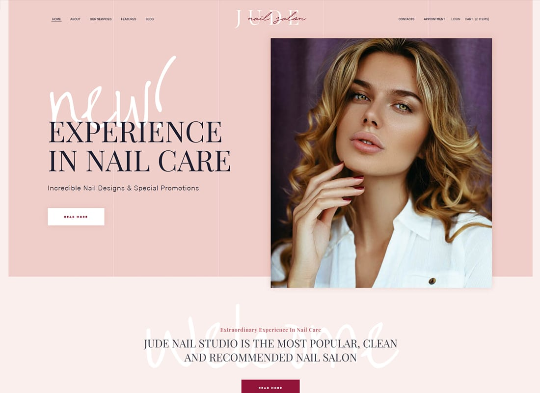 Jude - Nail Bar & Beauty Salon WordPress Theme   Website Template