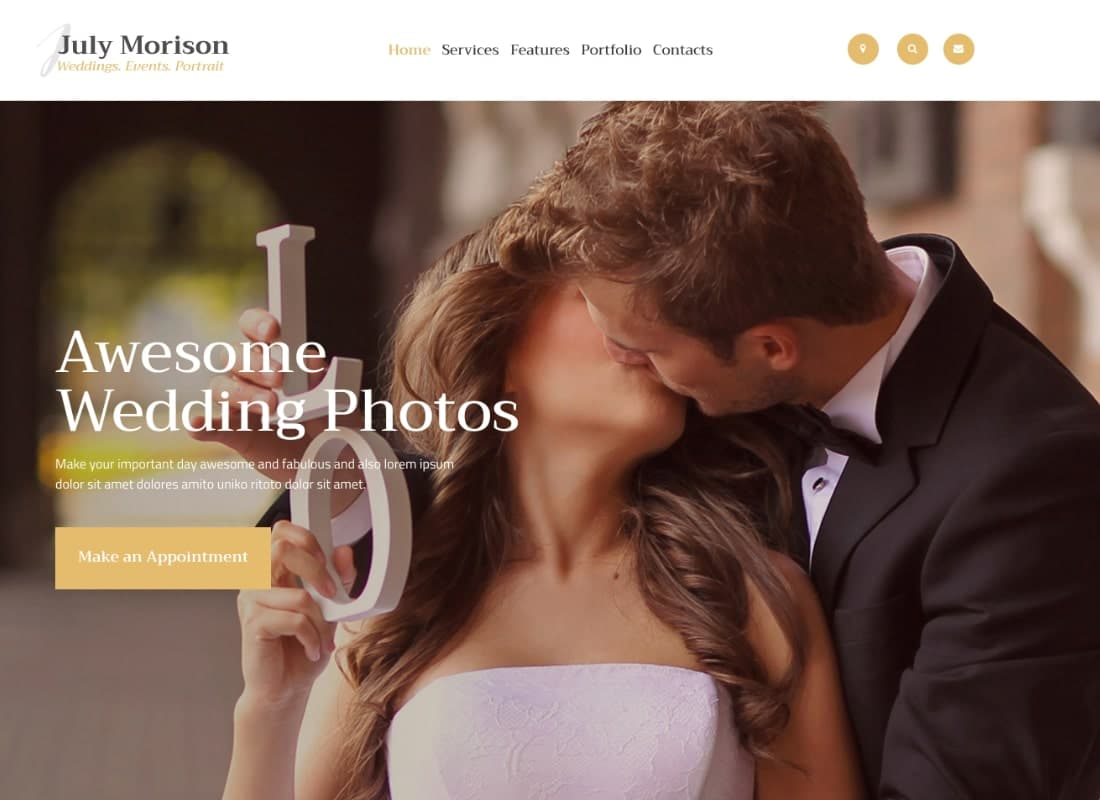 July Morison | An Alluring Event Photographer's Portfolio & Blog WordPress Theme Website Template