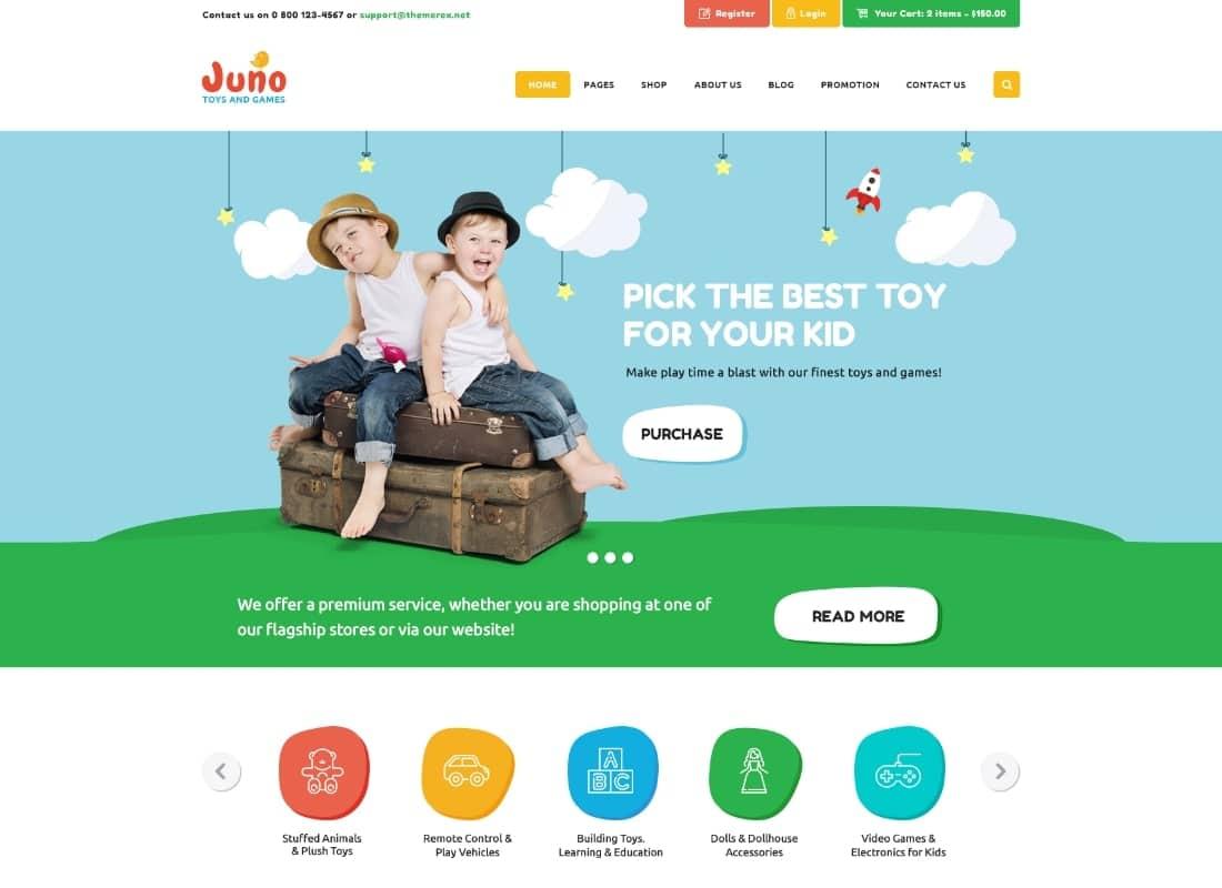 Juno | Kids Toys & Games Store WordPress Theme Website Template
