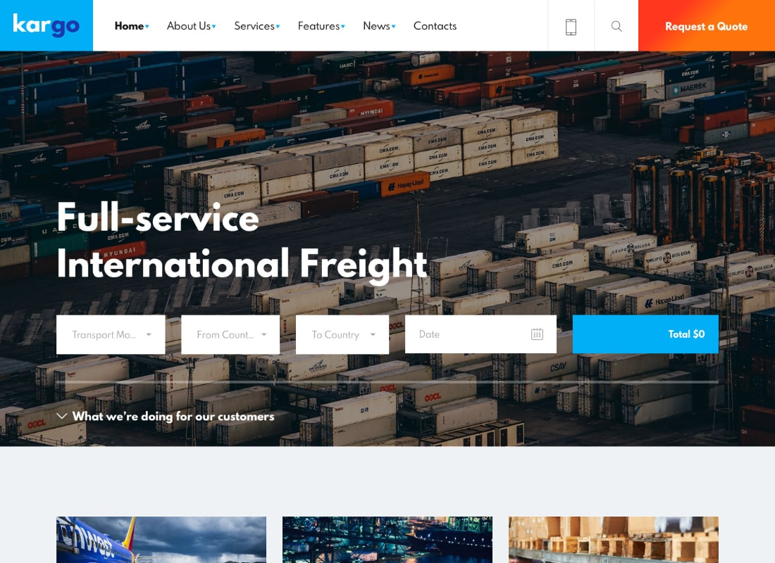 Kargo | Logistics & Transportation WordPress Theme Website Template