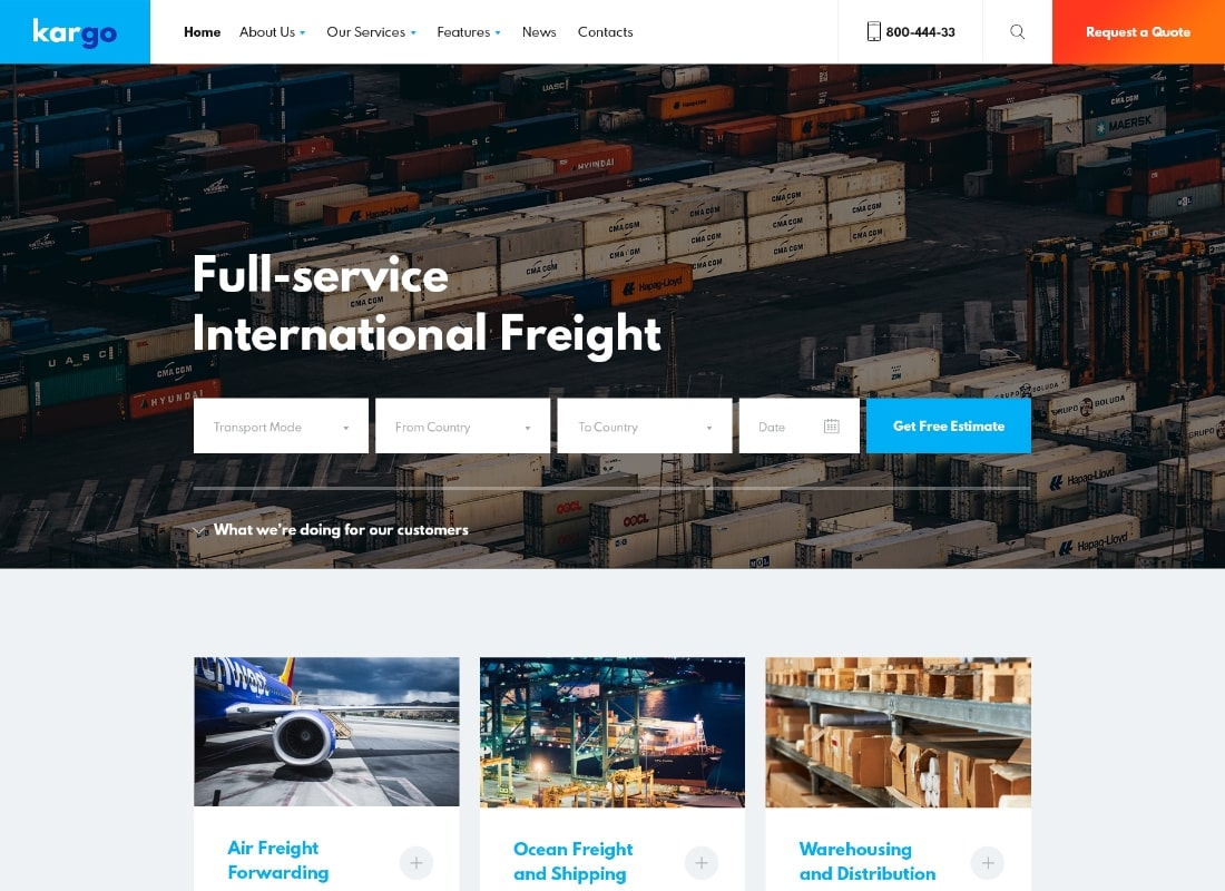 Kargo | Logistics & Transportation PSD Template Website Template
