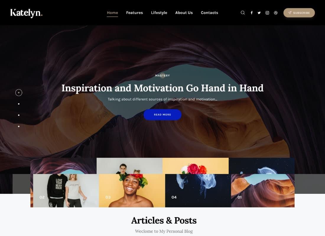 Katelyn   Creative Gutenberg Blog WordPress Theme Website Template