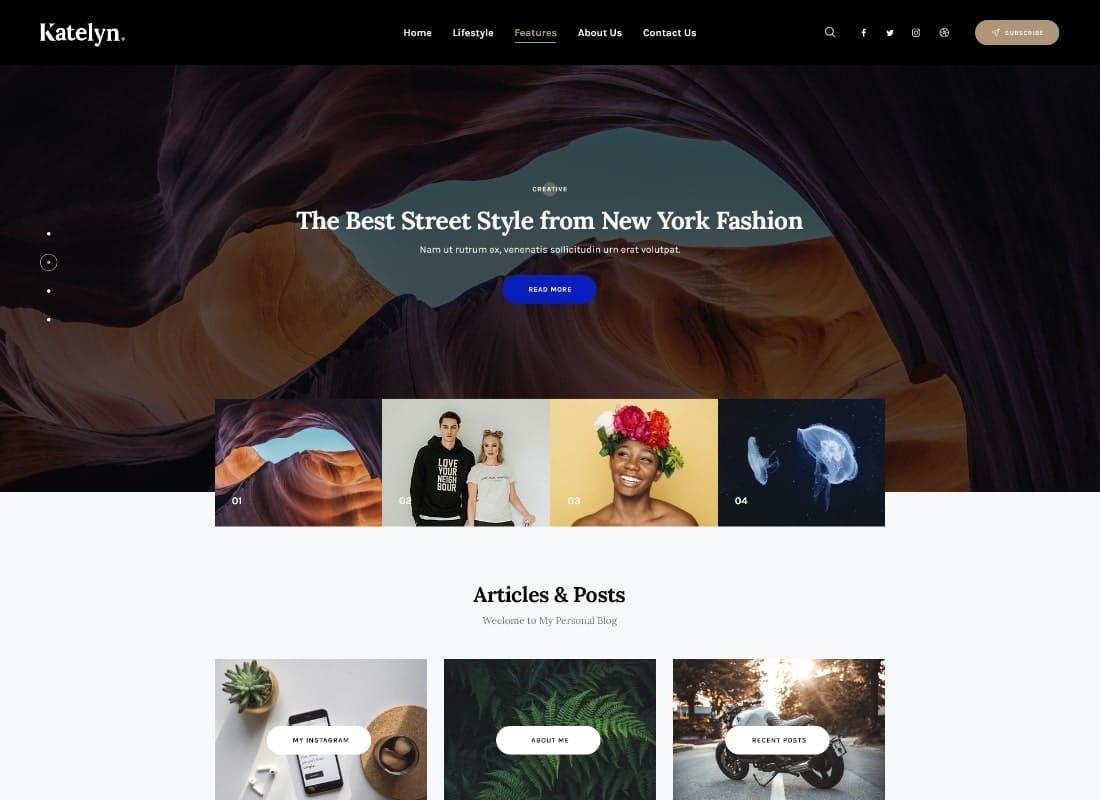 Katelyn | Creative Gutenberg Blog WordPress Theme Website Template