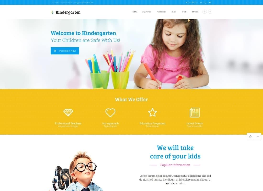 Kindergarten | Day Care & Children School Education WordPress Theme Website Template