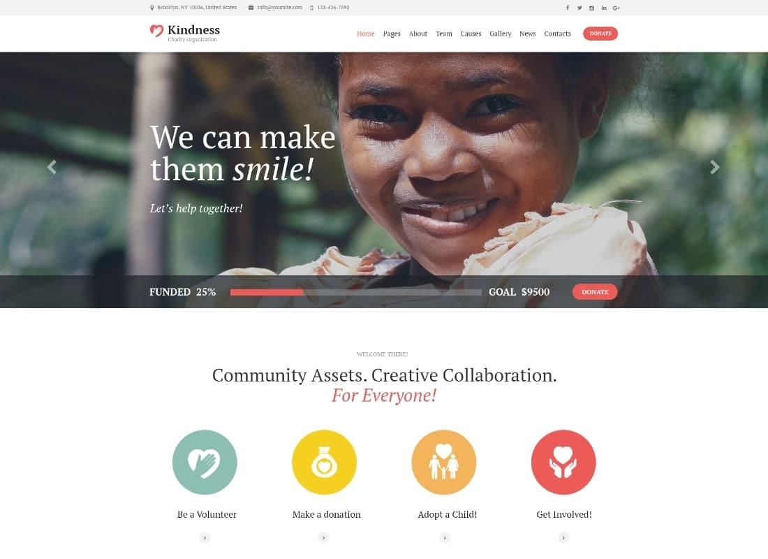 Kindness | Non-Profit, Charity & Donation Organizations WordPress Theme Website Template