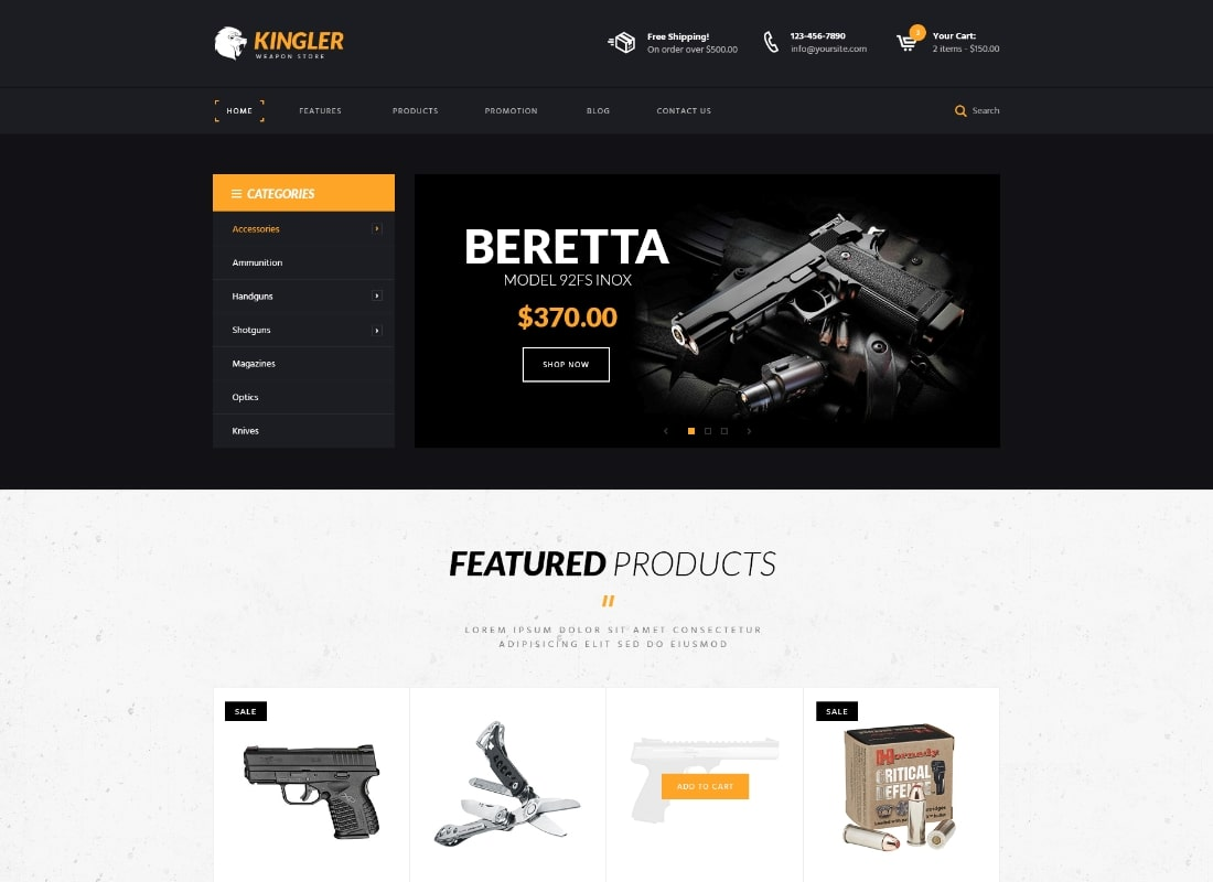 Kingler | Weapon Store & Gun Training WordPress Theme Website Template