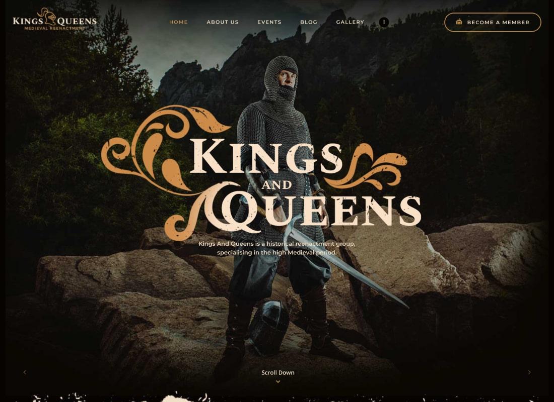Kings & Queens   Historical War Medieval Reenactment WordPress Theme Website Template