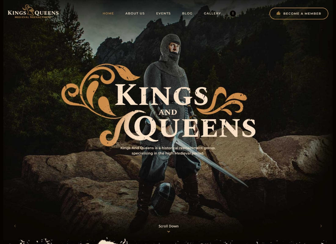 Kings & Queens | Historical Reenactment WordPress Theme Website Template