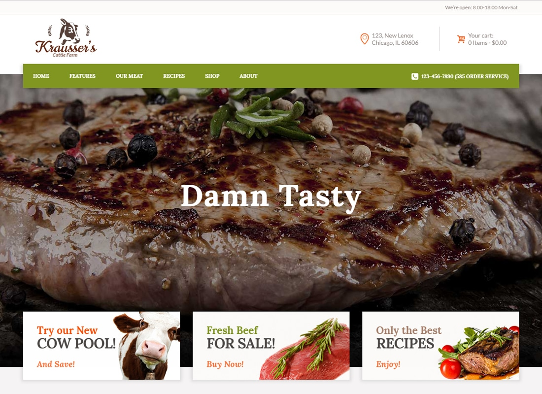 Krausser's - Cattle Farm & Produce Market WordPress Theme   Website Template