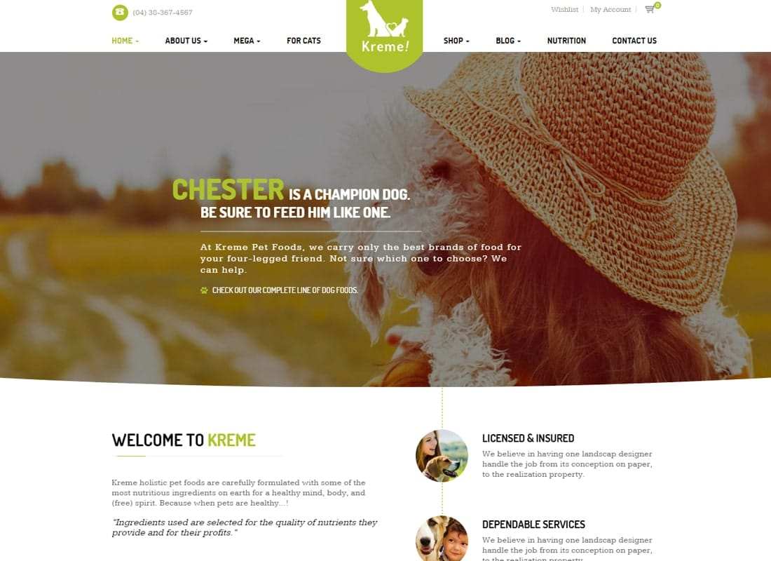 Kreme - Pet & Shop Website Template
