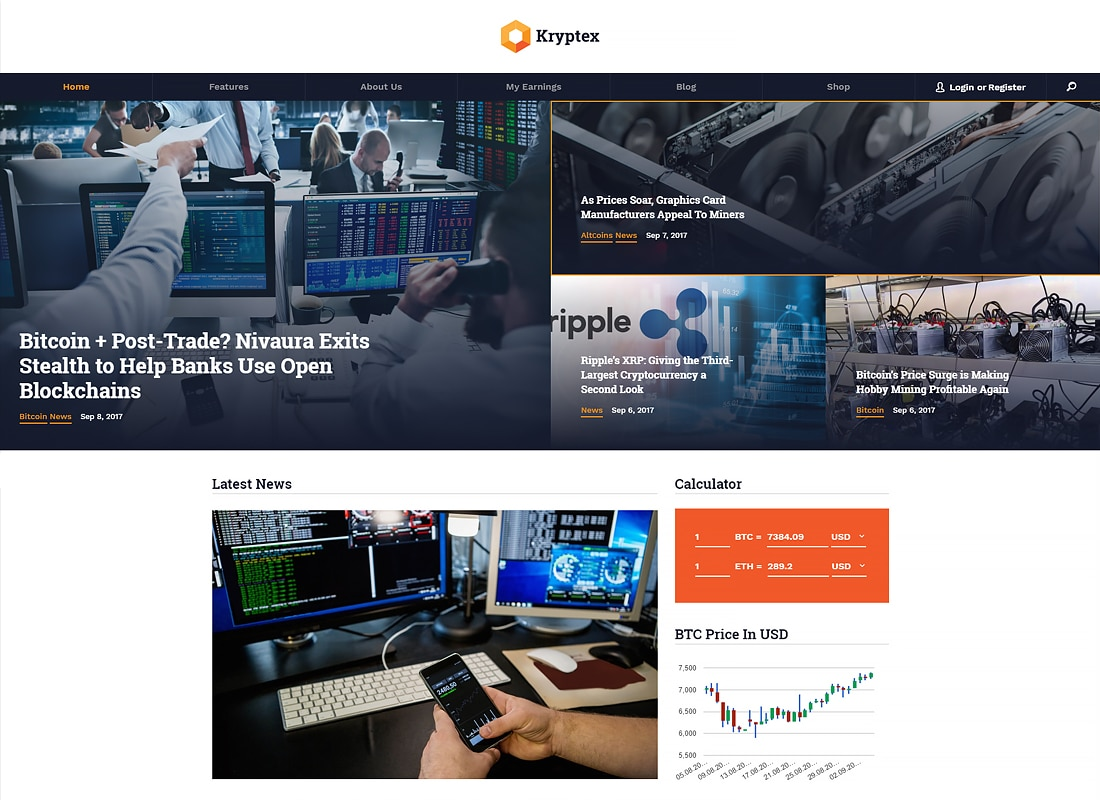 Kryptex | Cryptocurrency & Mining WordPress Theme   Website Template