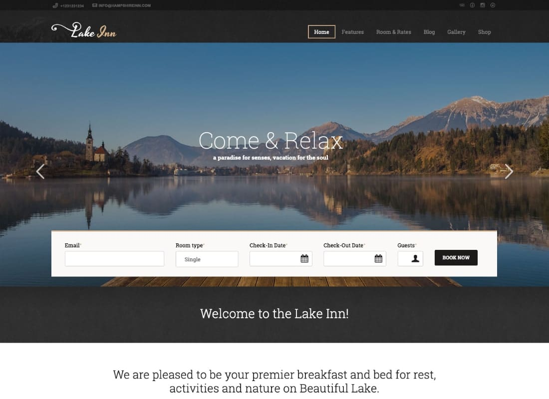 LakeInn - Inn, Resort & Hotel WordPress Theme Website Template