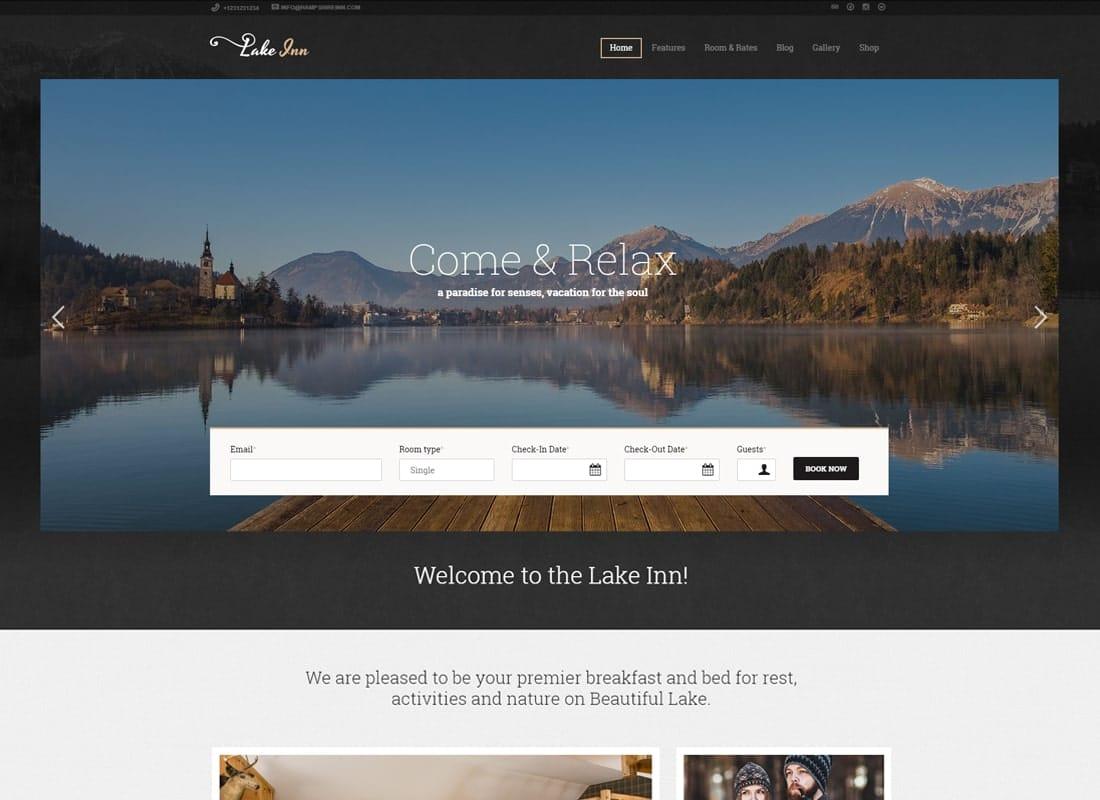 LakeInn - Inn, Resort & Hotel WordPress Theme Website Template