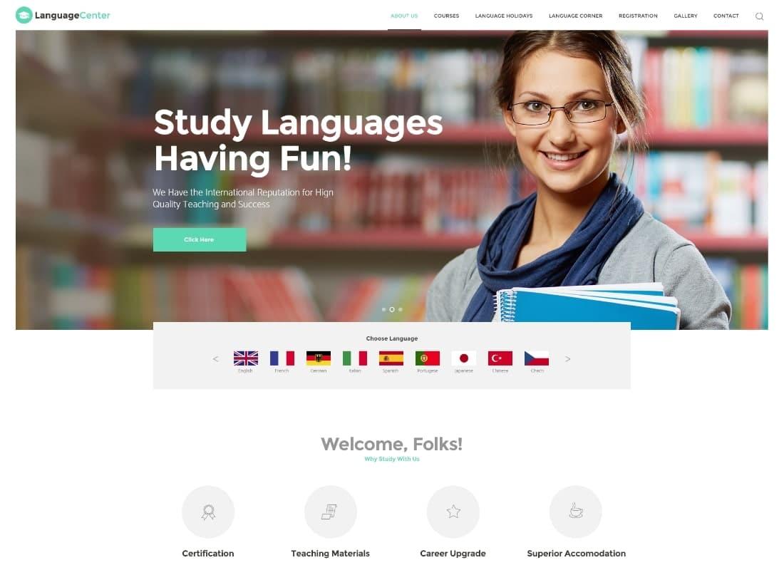 Language Center & Online School Education WordPress Theme Website Template