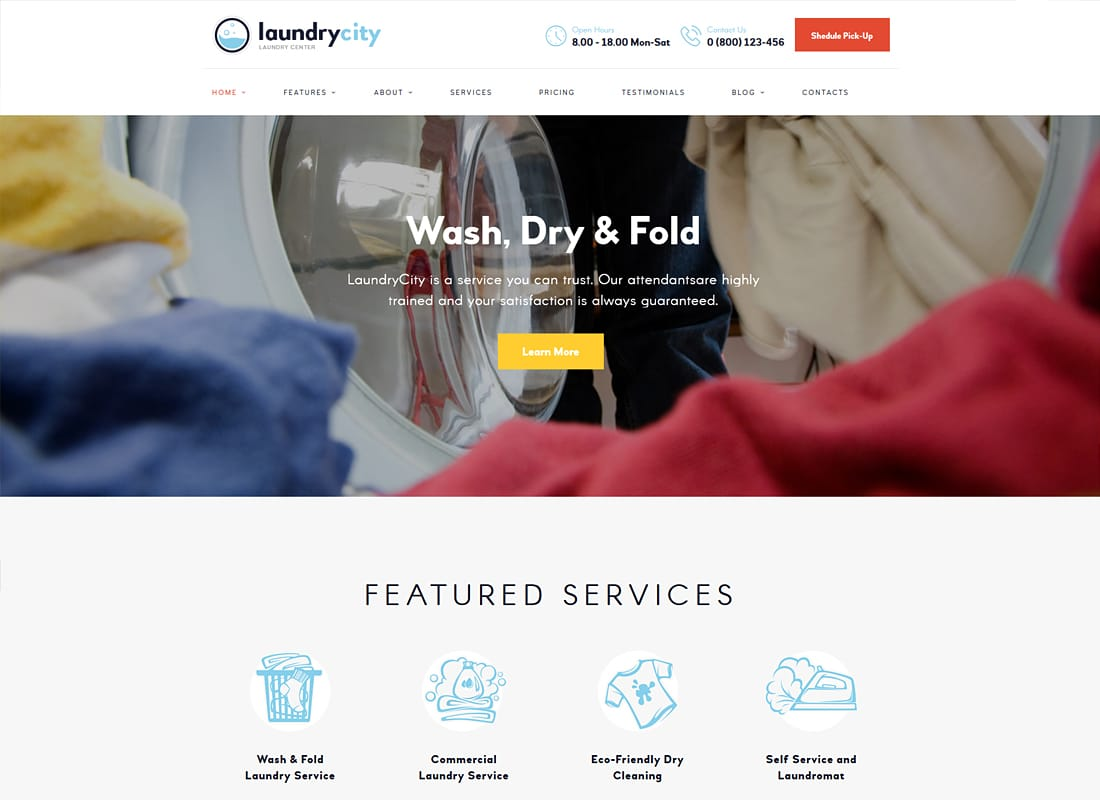 Laundry City | Dry Cleaning Services WordPress Theme Website Template
