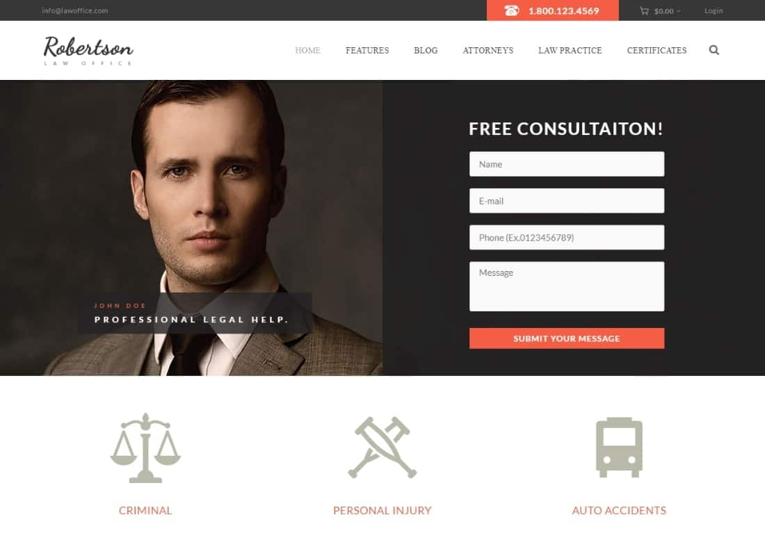 Law Office | A Lawyers Attorneys Legal Office WordPress Theme + RTL Website Template