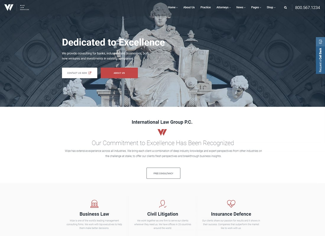Law Services | Lawyer & Attorney Business WordPress - WizeLaw Website Template