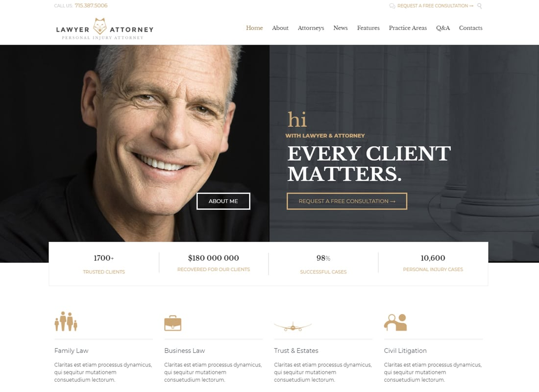 Lawyer & Attorney - Theme for Lawyers Attorneys and Law Firm Website Template