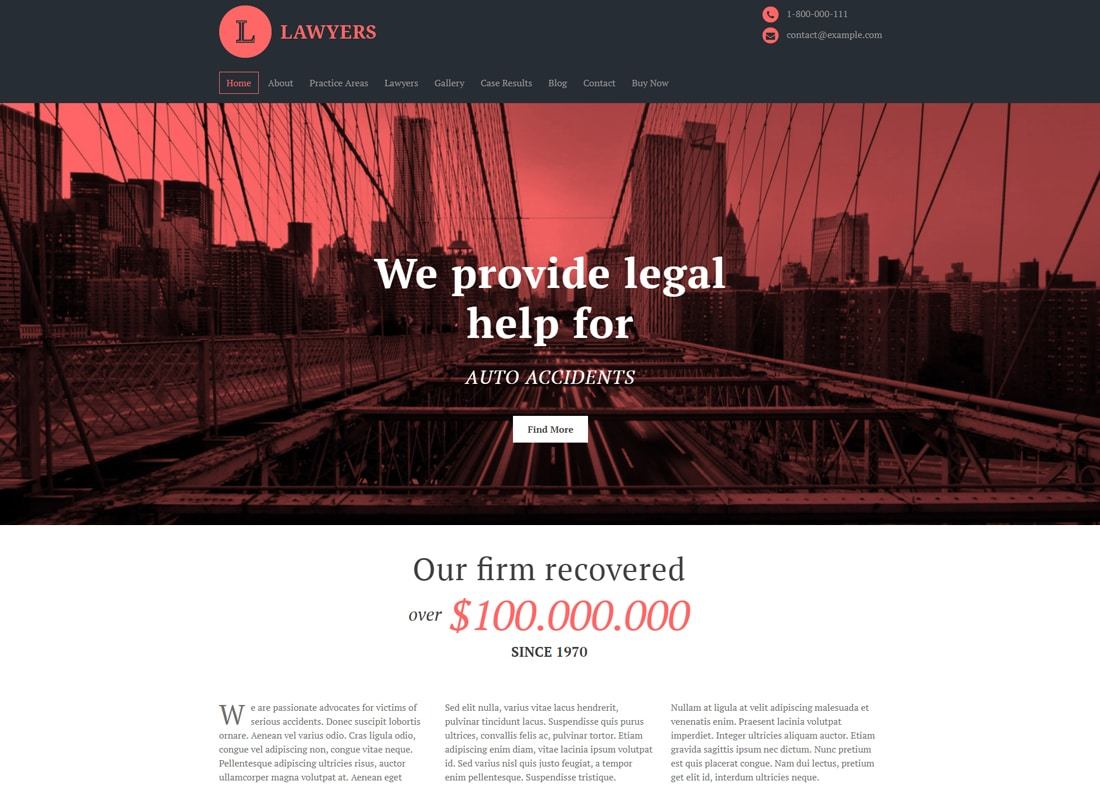 Lawyers - Responsive Business WordPress Theme Website Template