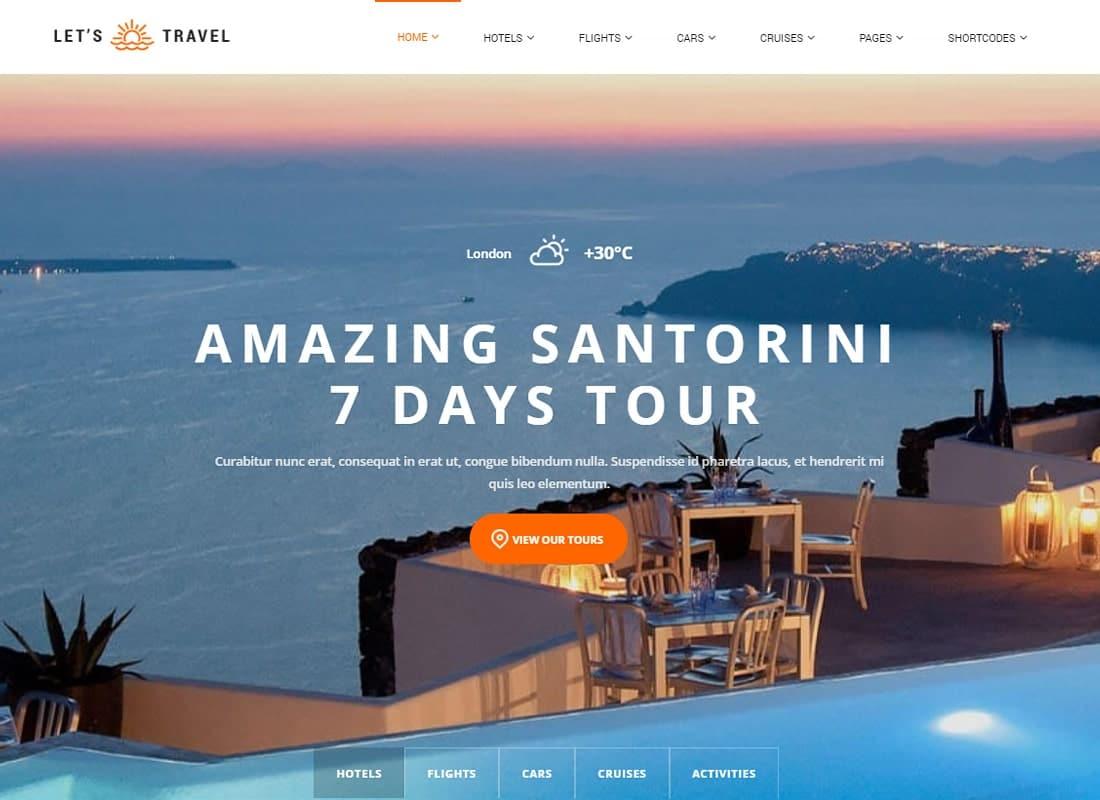 Let's Travel - Responsive Travel Agency WordPress Theme Website Template
