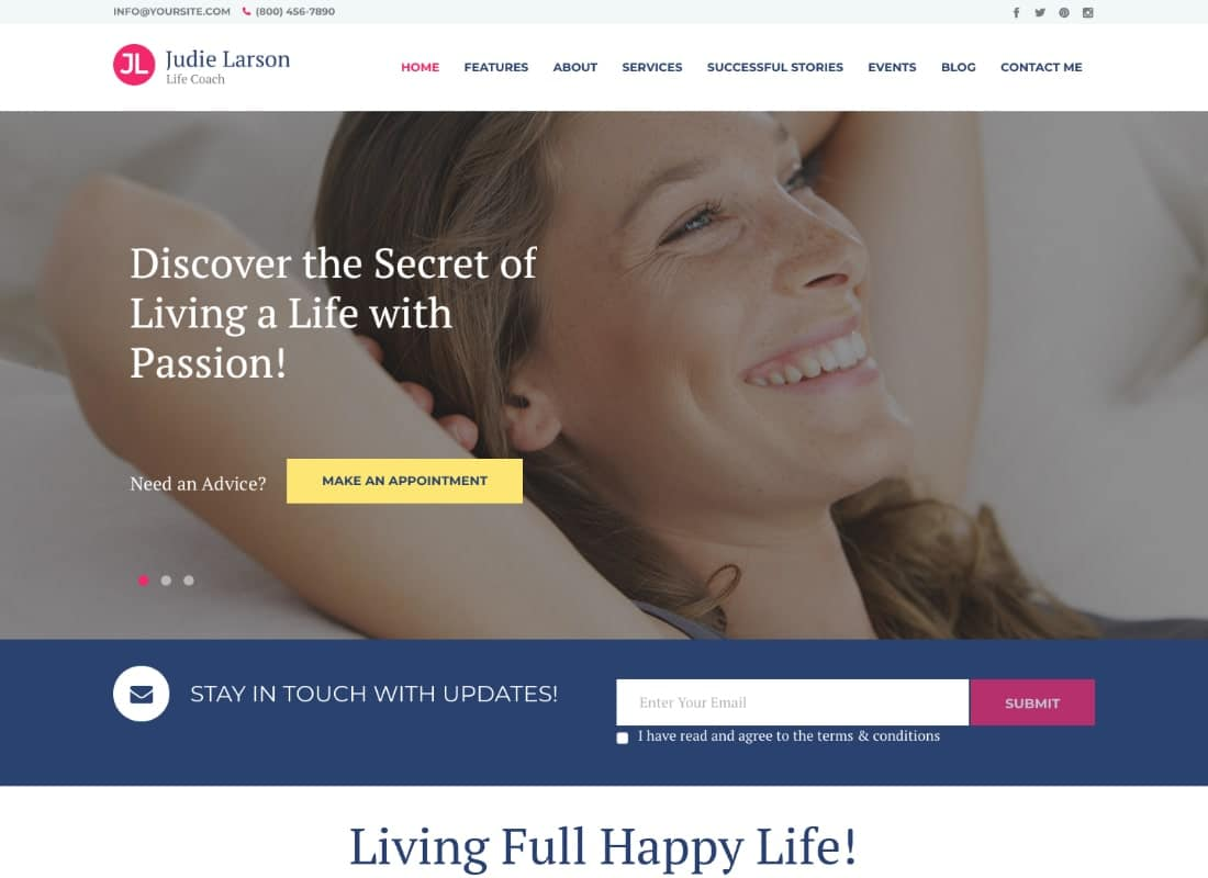 Life Coach and Psychologist Personal WordPress Theme Website Template