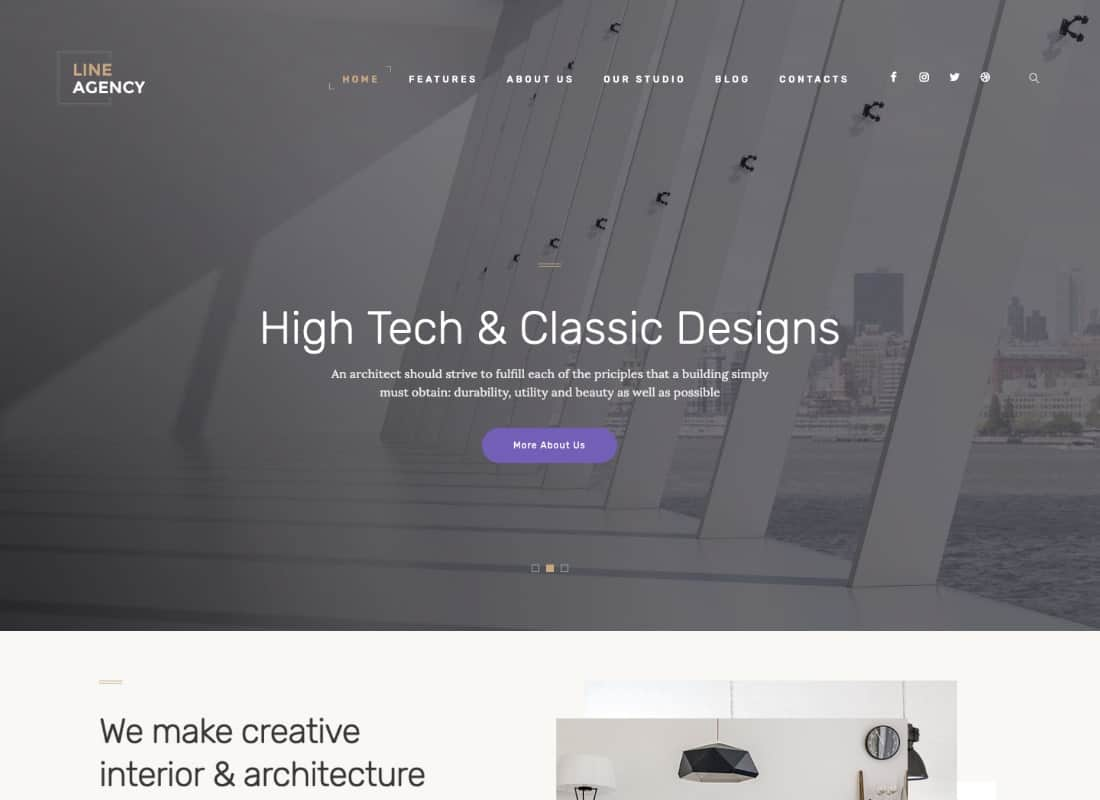 Line Agency | Interior Design & Architecture WordPress Theme Website Template