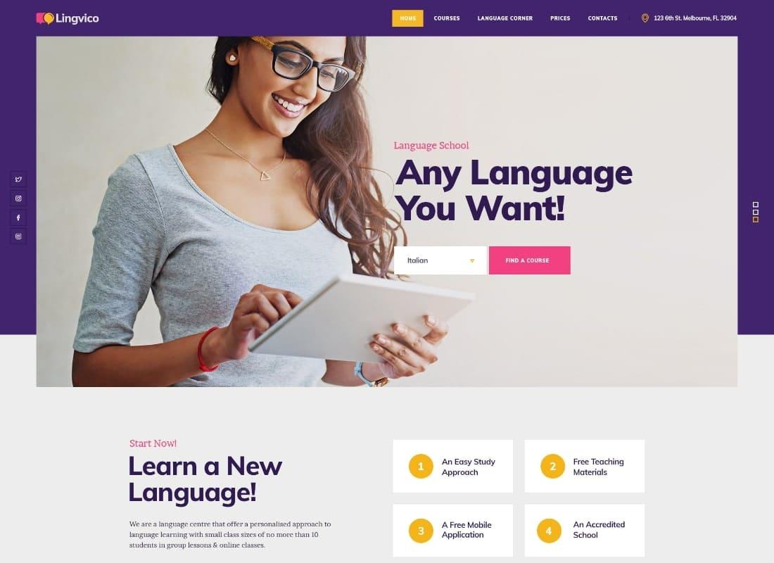 Lingvico   Language Center & Training Courses WordPress Theme Website Template