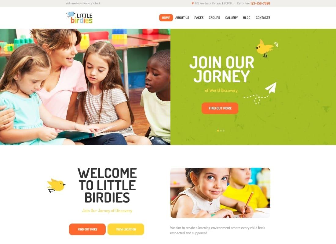 Little Birdies | A Multipurpose Children Kindergarten WordPress Theme Website Template