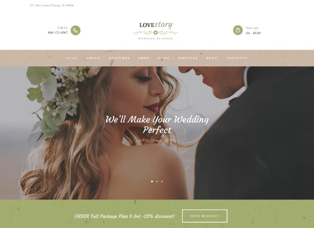 Love Story - Wedding and Event Planner WordPress Theme Website Template