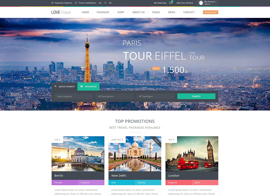 Love Travel - Creative Travel Agency WordPress Website Template