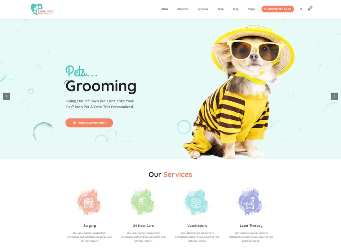 LovePet - Pet Shop & Veterinary Theme Website Template