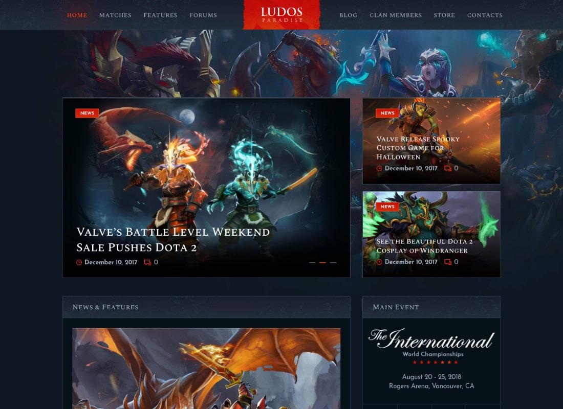 Ludos Paradise | Video Gaming Blog & Clan Esports WordPress Theme Website Template