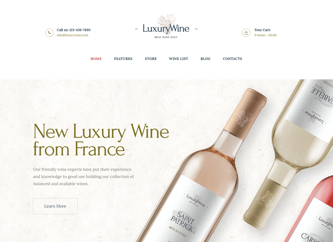 Luxury Wine - Wine House, Winery & Wine Shop WordPress Theme   Website Template