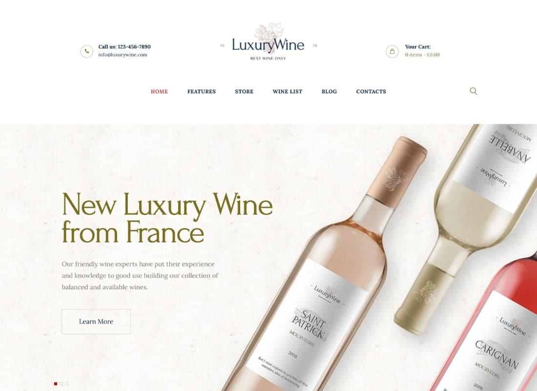 Luxury Wine | Liquor Store & Vineyard WordPress Theme + Shop Website Template