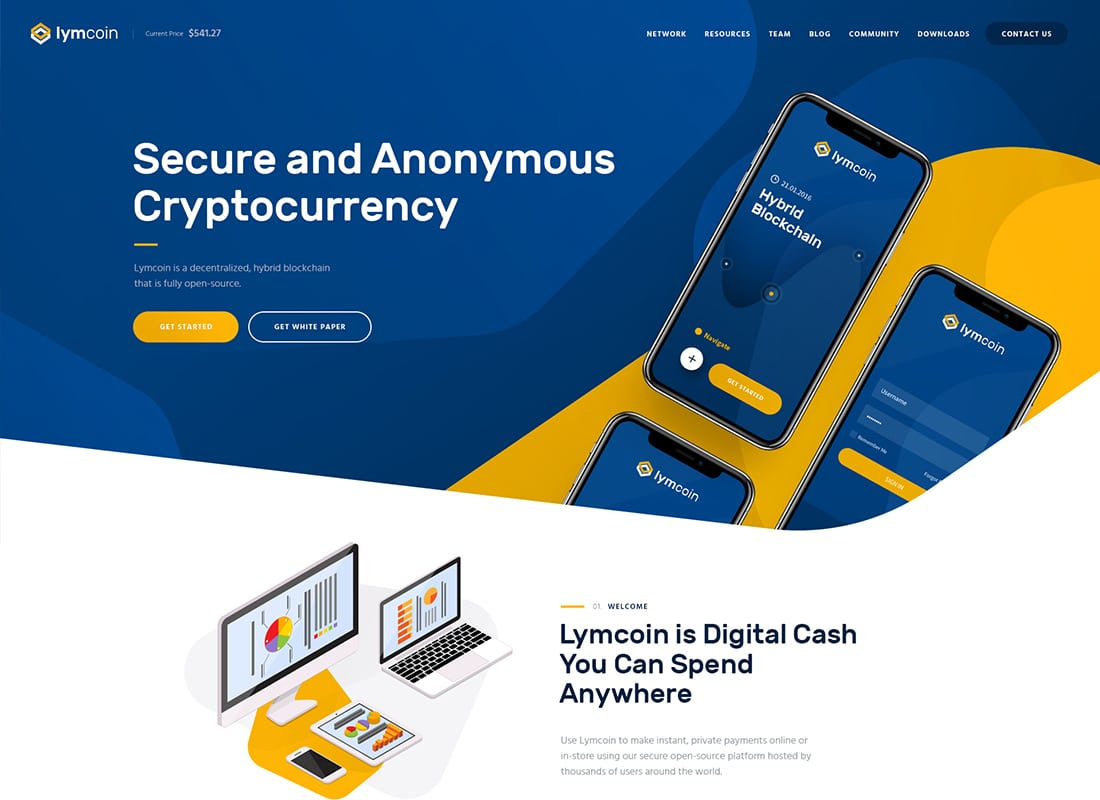 Lymcoin | Cryptocurrency & ICO WordPress Theme Website Template
