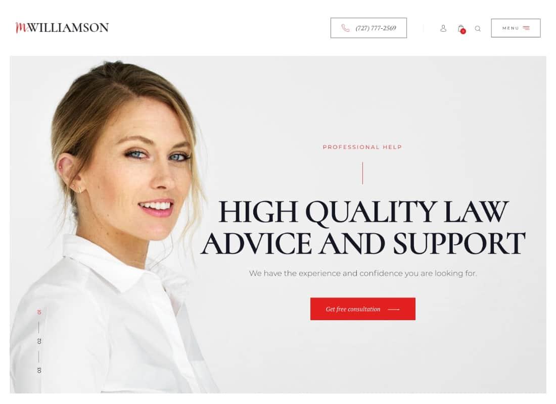 M.Williamson | Lawyer & Legal Adviser WordPress Theme Website Template
