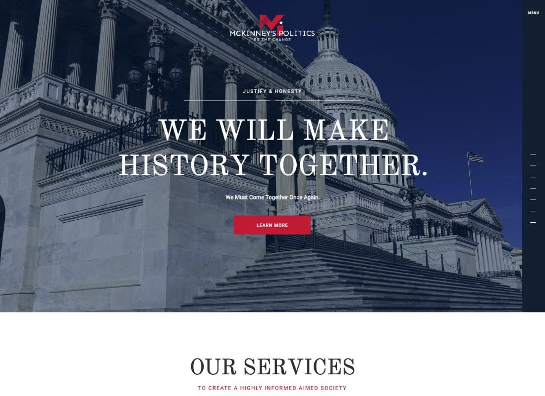 MCKinney's Politics | Elections Campaign & Political WordPress Theme Website Template