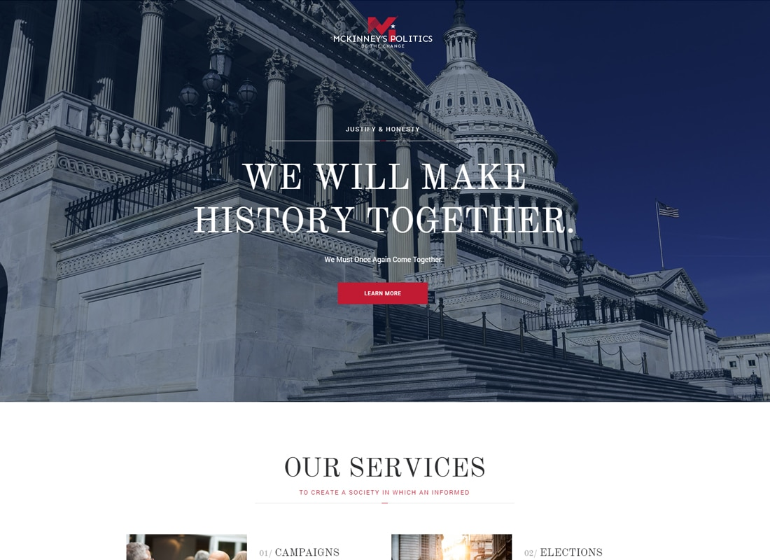 MCKinney's Politics | Elections Campaign & Political WordPress Theme Website Template